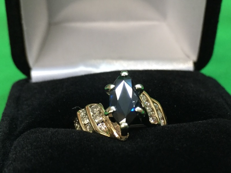 Sapphire Lady's Stone & Diamond Ring 16 Diamonds .38 Carat T.W. 14K Yellow Gold