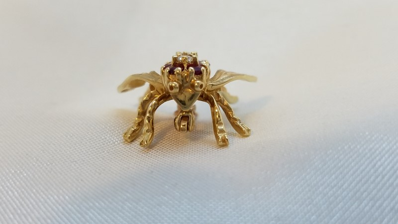 Almandite Garnet Gold-Diamond-Stone Brooch 2 Diamonds .10 Carat T.W.