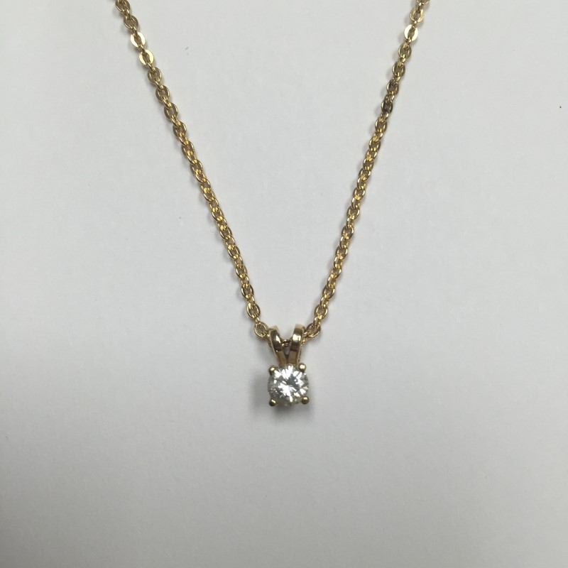 "19"" Diamond Necklace .25 CT. 14K Yellow Gold 2.5dwt"