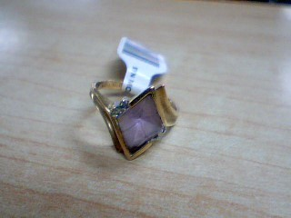Synthetic Morganite Lady's Stone & Diamond Ring 4 Diamonds .04 Carat T.W.