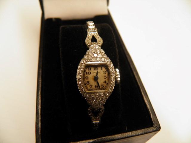 Longines Platinum and Diamond Watch