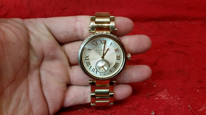 Michael Kors Skylar Champagne Dial Gold Tone Womens Watch MK5867