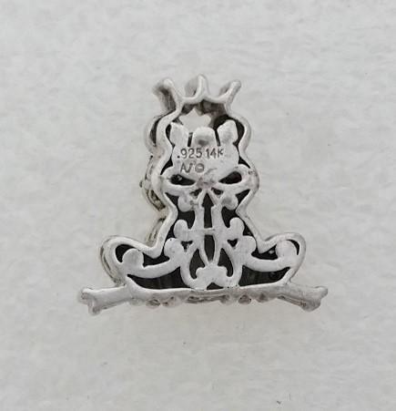 Alwand Vahan AV 925 Silver & 14K Gold Blue & Black Diamond Frog Prince Pendant