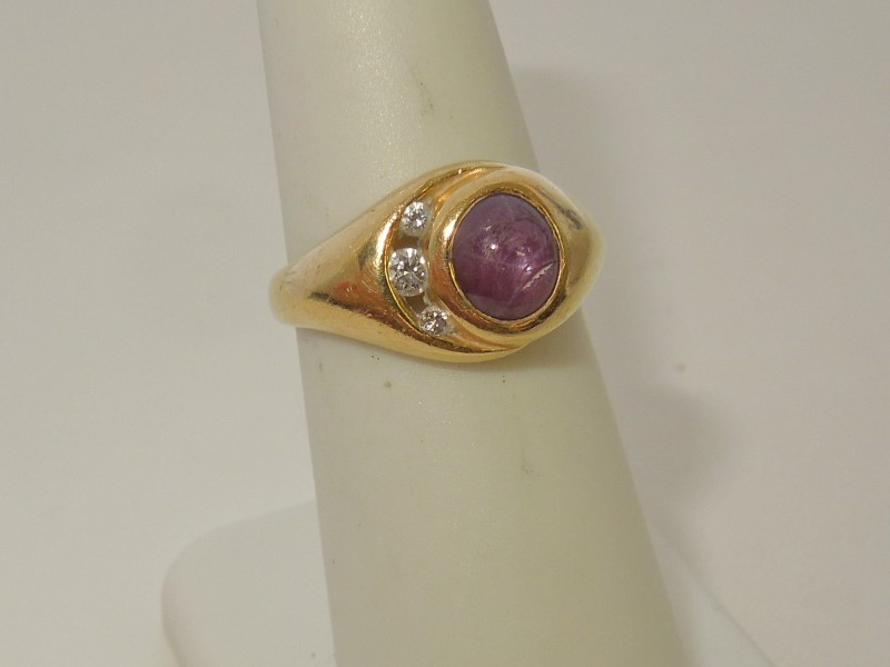 Synthetic Star Ruby Lady's Stone & Diamond Ring 3 Diamonds .09 Carat T.W.