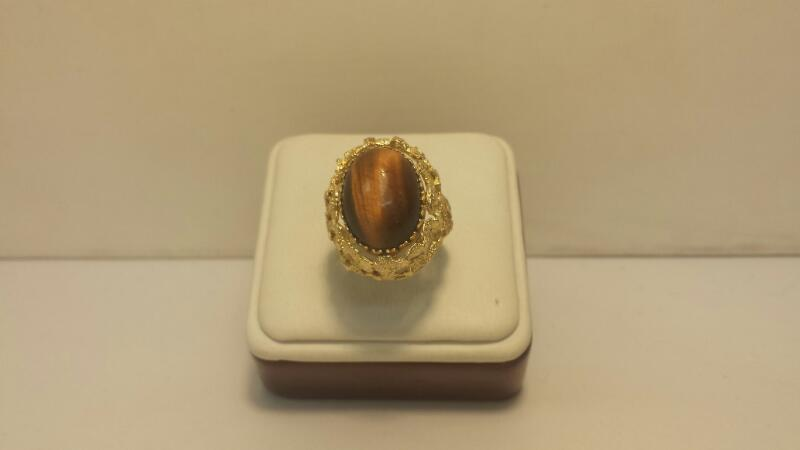 14k Yellow Gold Rotating Ring with 2 Gemstones 6.1dwt - Size 6