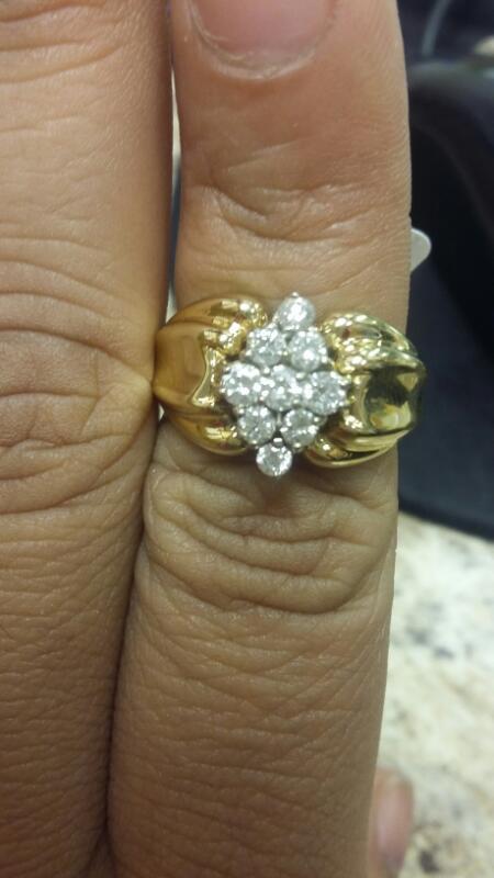 Lady's Diamond Cluster Ring 9 Diamonds .36 Carat T.W. 14K Yellow Gold 4.7dwt