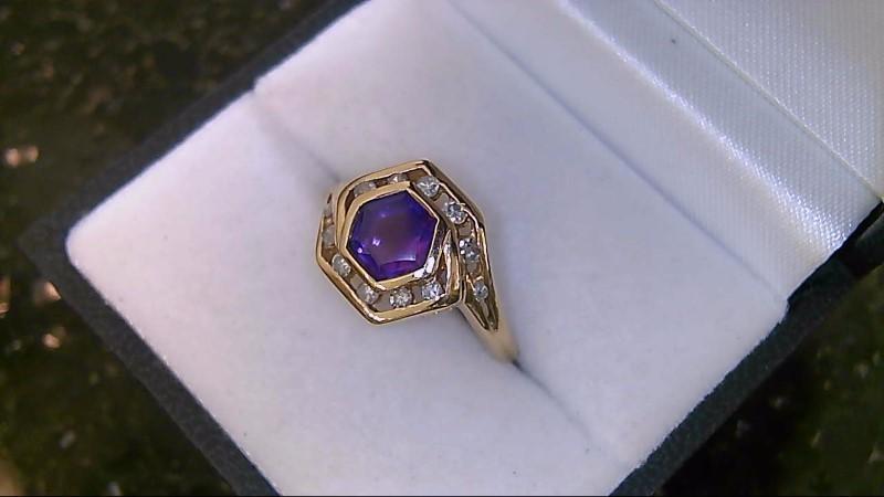 Octagon Amethyst & Diamond 14K Yellow Gold Ring
