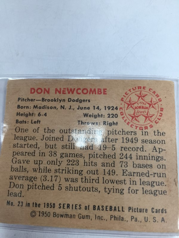 1950 BOWMAN DON NEWCOMBE BASEBALL CARD