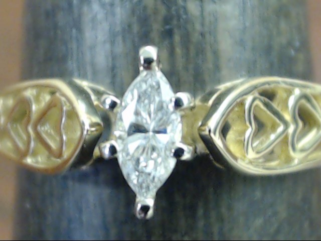 ESTATE MARQUISE DIAMOND ENGAGE RING HEART BAND SOLID 14K GOLD SIZE 6