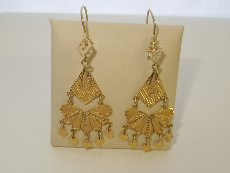 Gold Earrings 14K Yellow Gold 4.8g