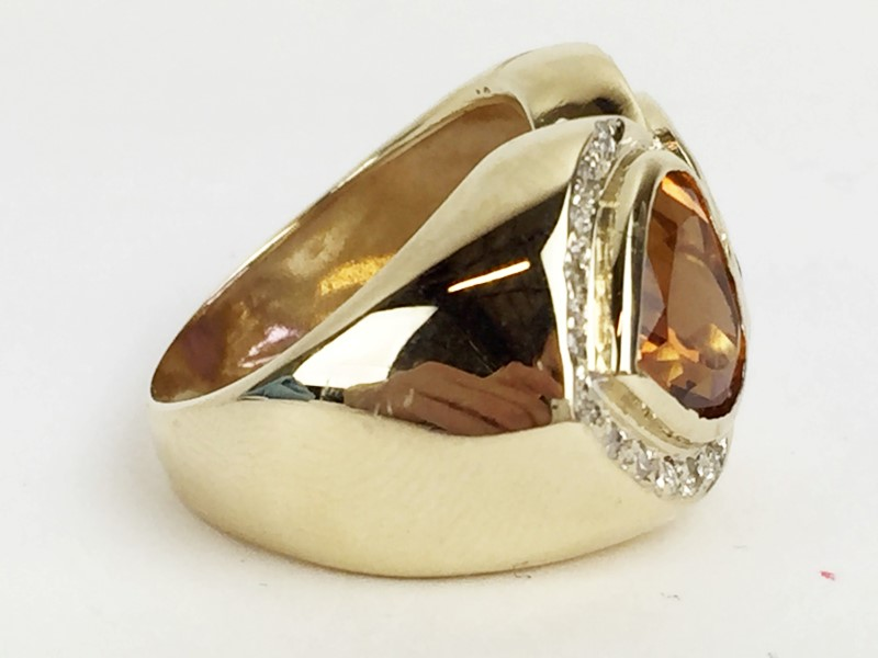 Amethyst Citrine & Diamond Ring 26 Diamonds .26 Carat T.W. 14K Yellow Gold
