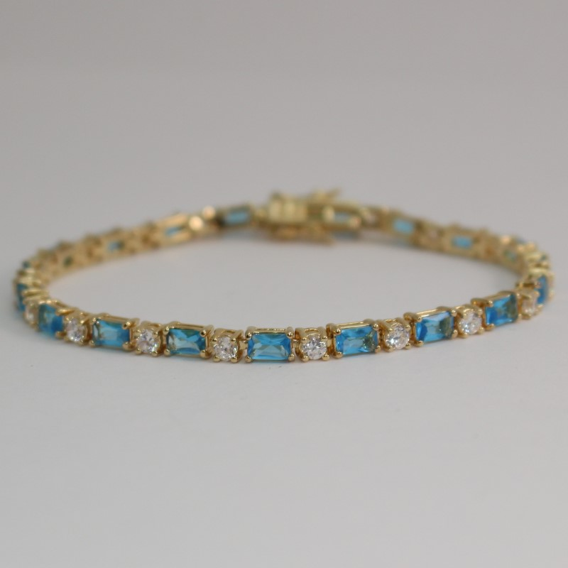 "8"" Gold Toned Sterling Silver Emerald-Cut Blue Topaz & CZ Tennis Bracelet"