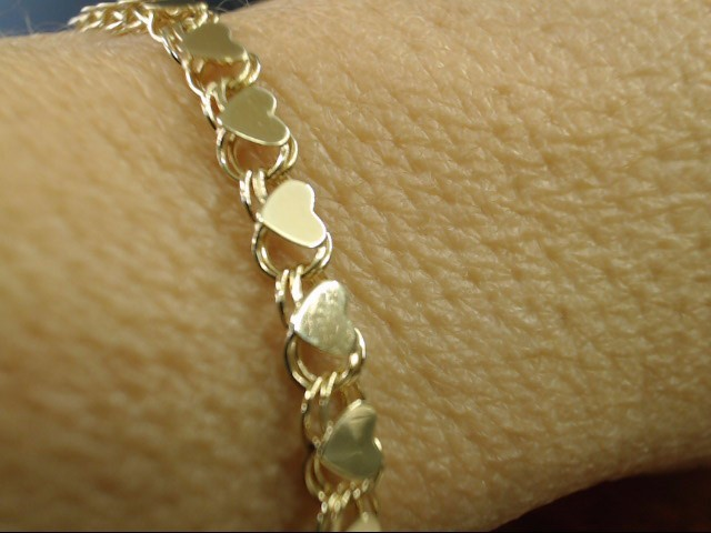 "HEART LINK BRACELET REAL 10K YELLOW GOLD VALENTINE LOVE PROMISE 7.5"""