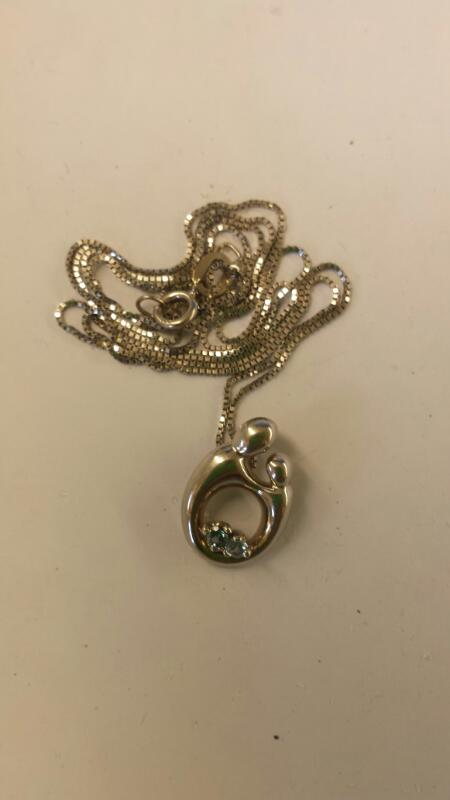 Sapphire Stone Necklace 14K White Gold 1.65dwt