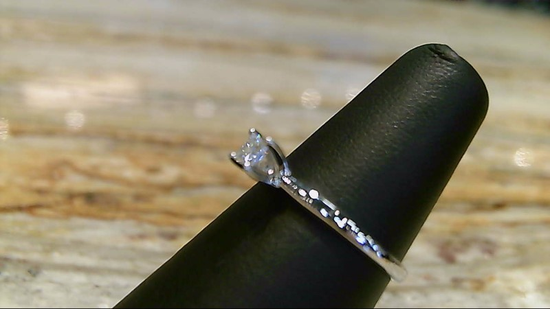 Lady's Diamond 1/5 CT 10K White Gold Engagement Ring SZ 7