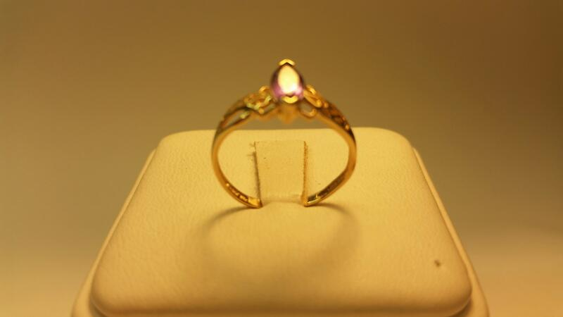 10k Marquise Purple Stone Ring Size 7