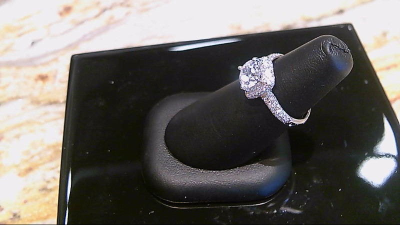 LADY'S 14K WHTIE GOLD ROUND CUBIC ZIRCONIA CENTER WITH ROUND DIAMONDS RING