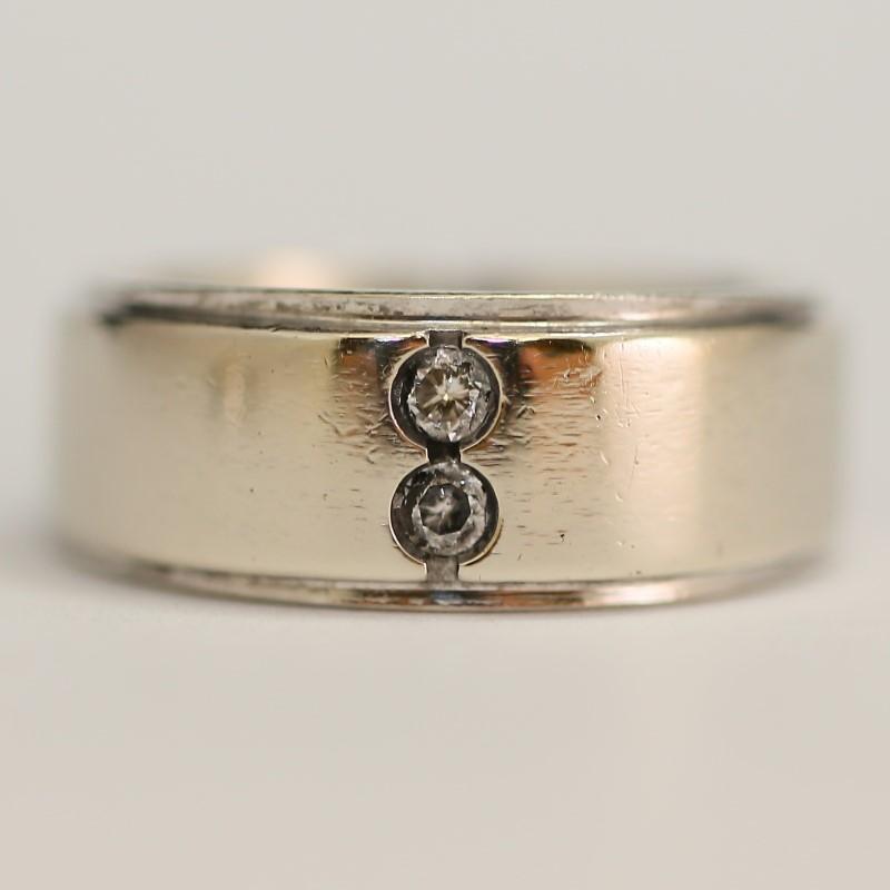 14K White Gold and Round Brilliant Diamond Wedding Band Size 11