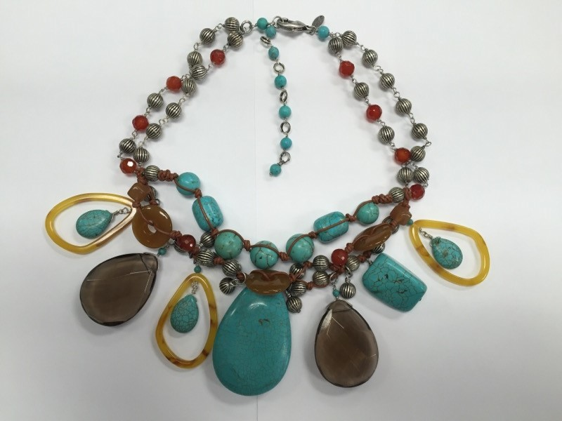 """19"""" Chico's Multi-Strand Funky Beaded Turquoise Necklace"""