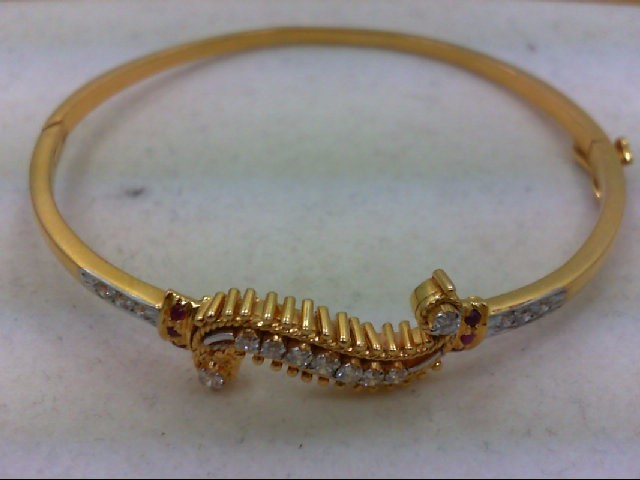 Ruby Gold-Diamond & Stone Bracelet 15 Diamonds .33 Carat T.W. 18K Yellow Gold