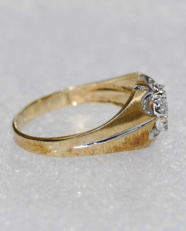 Men's 10K Two Tone Gold Brushed Satin & Polished Diamond Cluster Ring Size 10.25