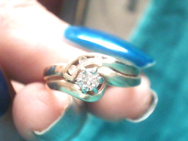 Lady's Diamond Wedding Set 4 Diamonds .18 Carat T.W. 14K Yellow Gold 2.4dwt