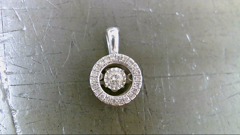 Gold-Diamond Solitaire Pendant 23 Diamonds .34 Carat T.W. 10K White Gold 1.1g
