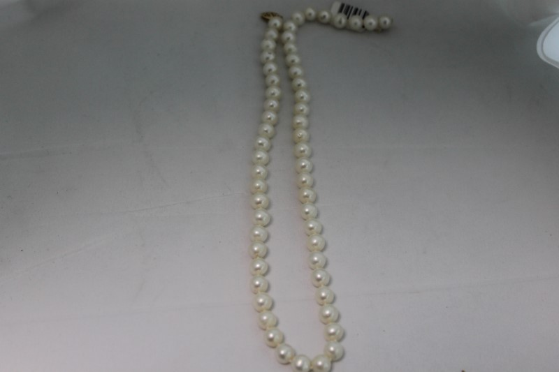 """16"""" Inch Cultured White Pearl Yellow Gold Necklace YG"""