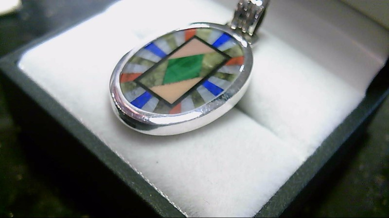 Lady's Sterling Silver Multi-Colored Pendant 925 4.1G