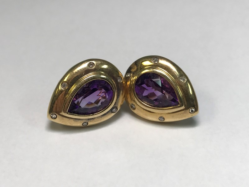 14K Amethyst and White Stone Earrings