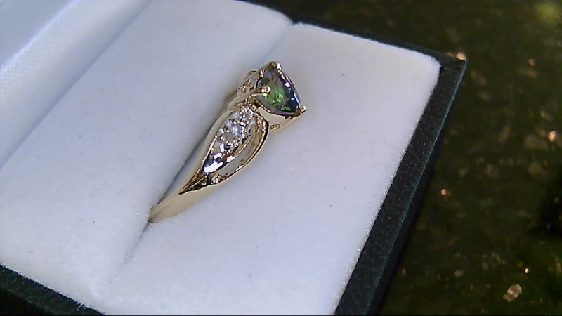 Lady's 10k yellow gold heart mystic topaz with diamond ring