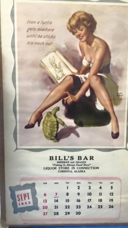 SEPTEMBER 1953 CALENDAR GIRL BILL'S BAR