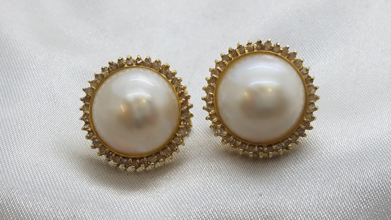 .76 TCW Diamond Halo & Pearl Stud Earrings 14k Yellow Gold