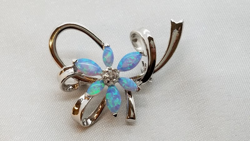 Synthetic Opal Silver-Stone Brooch 925 Silver 6.8g