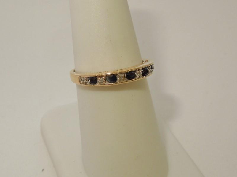 Synthetic Sapphire Lady's Stone & Diamond Ring 6 Diamonds .030 Carat T.W.