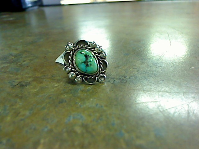 Synthetic Turquoise Lady's Silver & Stone Ring 925 Silver 7.4g