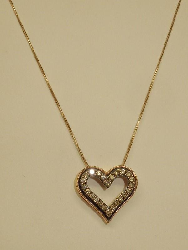 Diamond Necklace 24 Diamonds .48 Carat T.W. 10K Rose Gold 3.3g