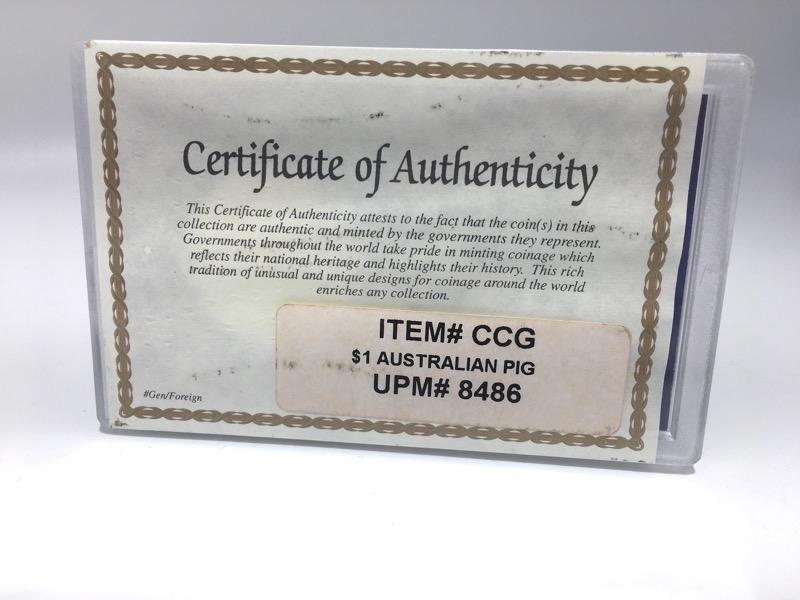 2007 Australia - Lunar Year Pig - 1 oz .999 Silver- In Box & COA