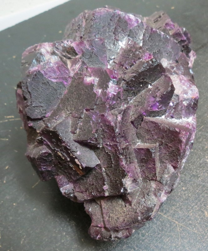"LARGE DARK PURPLE FLUORITE SPECIMEN.  9.5#,  APPX 9.5"" X 5.5"" X 4.5""."