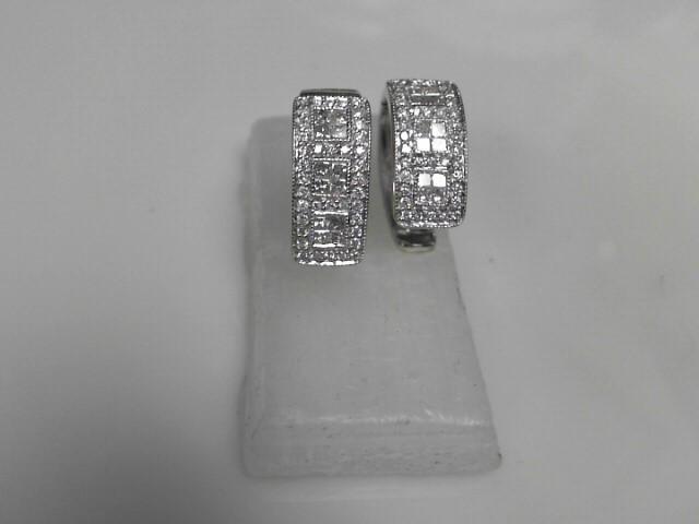 Gold-Diamond Earrings 100 Diamonds 2.00 Carat T.W. 14K White Gold 8.1g