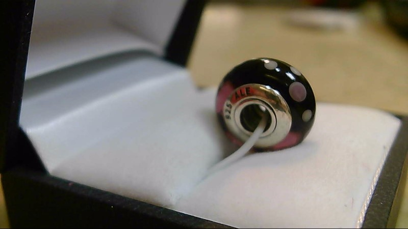 Pandora Red Glass Bead Spots Silver Charm