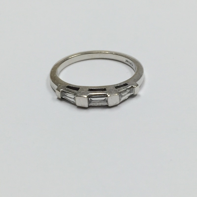 Lady's Diamond Wedding Band 3 Diamonds .30 Carat T.W. 14K White Gold 1.3dwt