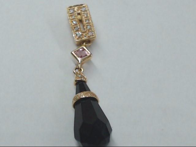 Black Stone Gold-Diamond & Stone Pendant 11 Diamonds .11 Carat T.W.
