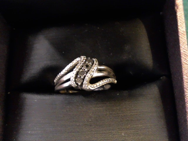 Black Stone Lady's Silver & Stone Ring 925 Silver 3.2g Size:7.3