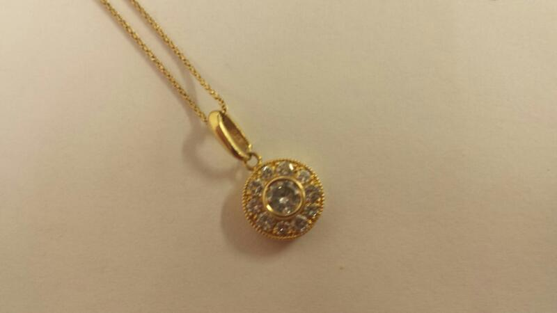"14K-Y/G Diamond And Gold Pendant On 20"" Small Diameter rope Chain"