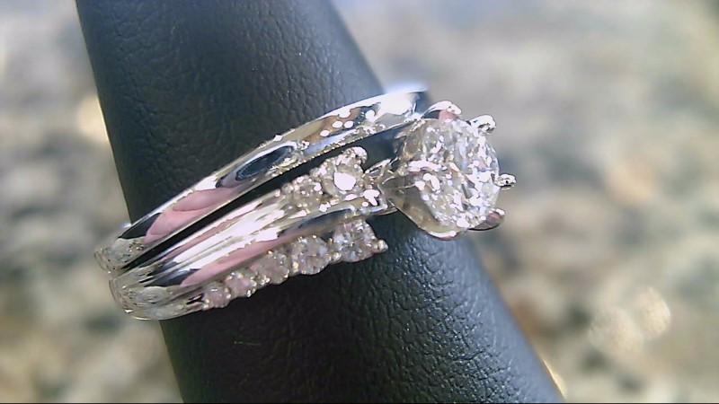 Lady's Diamond Wedding Set 15 Diamonds .58 Carat T.W. 14K White Gold 6.8g