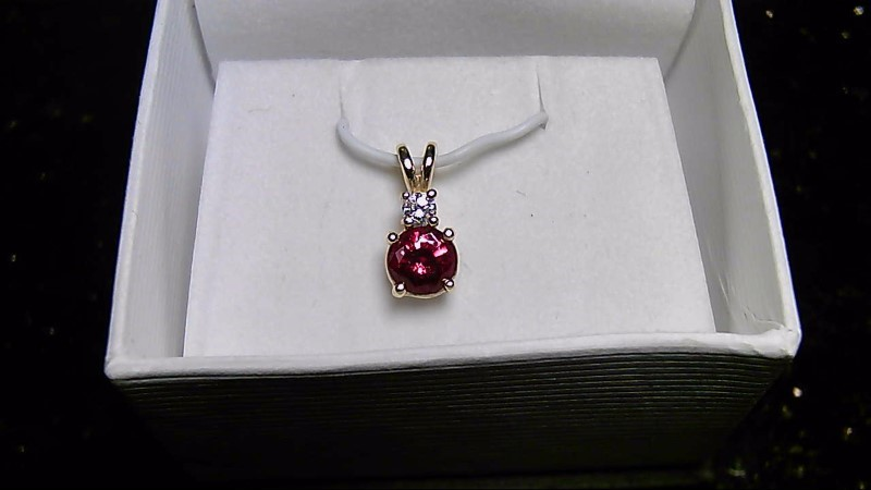 July Birthstone Ruby Gold-Diamond & Stone 14K Yellow Gold Pendant