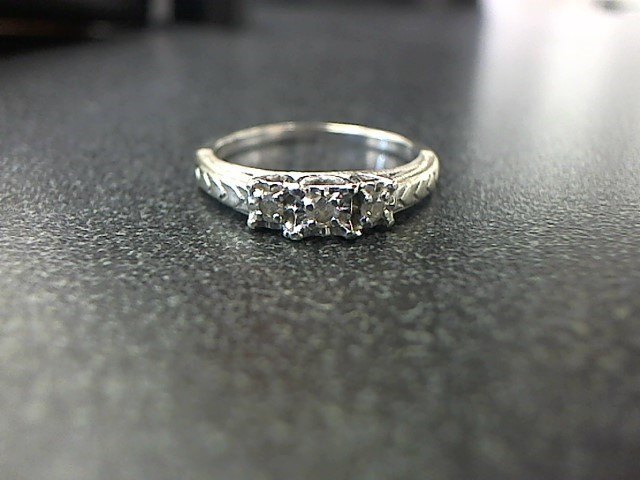 Lady's Diamond Engagement Ring 3 Diamonds .12 Carat T.W. 10K White Gold 2.9g