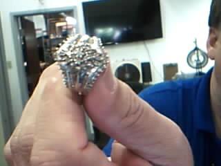 Lady's Diamond Cluster Ring 65 Diamonds 1.03 Carat T.W. 10K White Gold 7.1g