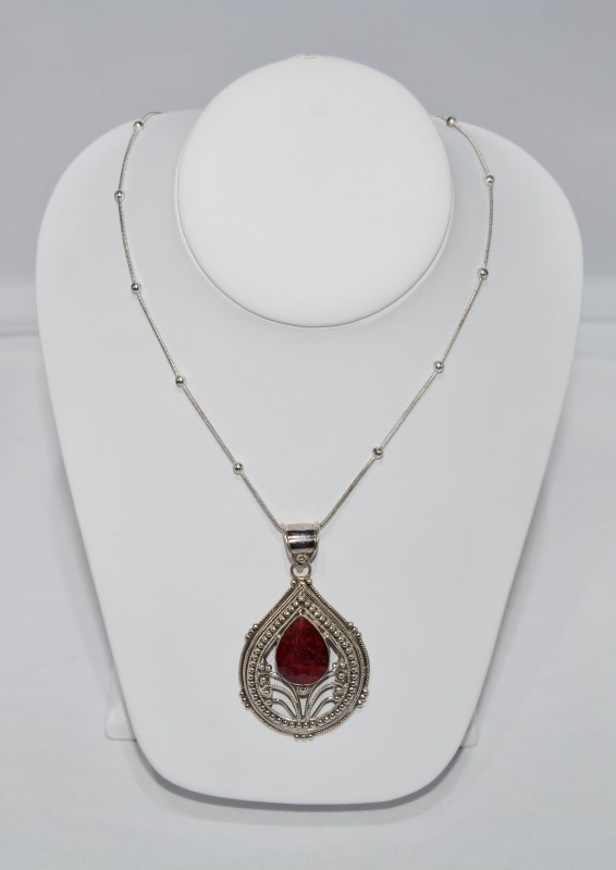 Silver Necklace w/ Red Stone Pendant
